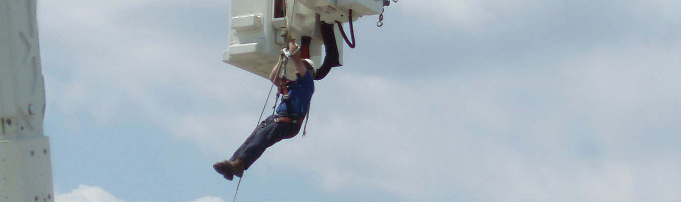 man working high in the air