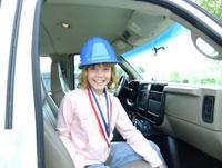 child inside of truck