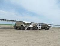 Three company vehicles