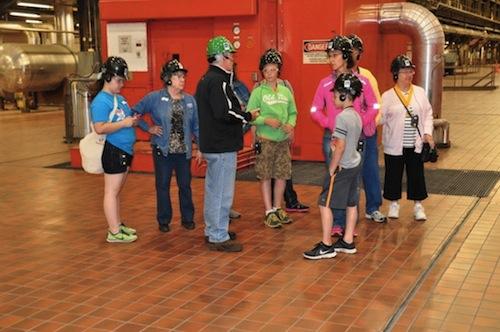 Tour group standing around