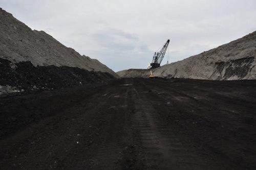 Far view of excavator