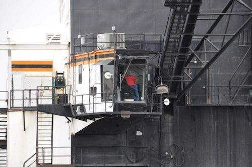 Man operating a crane