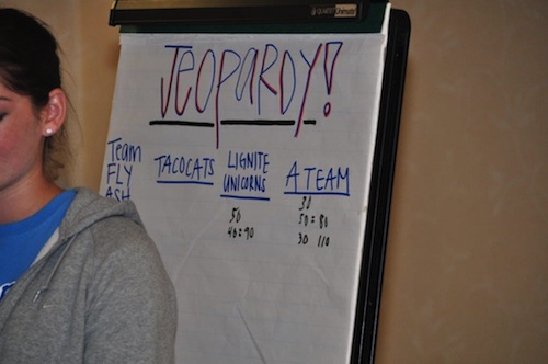 group playing Jeopardy