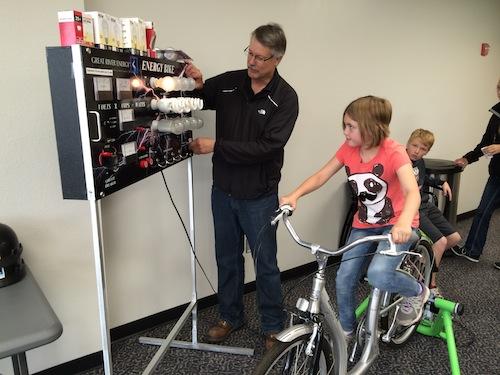 Tour group member on the energy bike